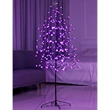 Bolylight LED Cherry Blossom Tree 6ft 208L & Indoor and Outdoor Decoration Lighted Tree for Bedroom/Party/Wedding/Office/Home Light Purple