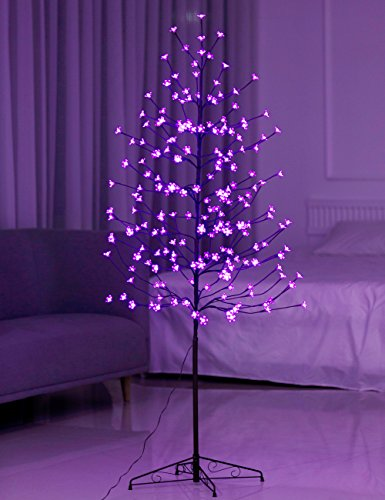 Bolylight LED Cherry Blossom Tree 6ft 208L & Indoor and Outdoor Decoration Lighted Tree for Bedroom/Party/Wedding/Office/Home Light Purple (Flowers Christmas Artificial)