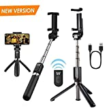 Selfie Stick Bluetooth - Whlzd Extendable Selfie Stick with Wireless Remote Shutter and Tripod Stand for iPhone 8/iPhone 8 Plus/X/iPhone 7/iPhone 7 Plus/Galaxy Note 8/S8/S8 Plus & More