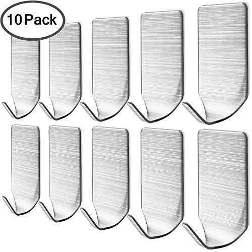 - 10 Pack Stainless Steel Hooks, DanziX Self Adhesive Metal Hooks for Towel Cloth Key Hat Racket Kitchen Home- Silver