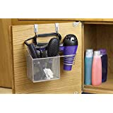 Home Basics-HH41083-Over The Cabinet Hairdryer Organizer and Holder-Stainless Steel