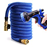WEUE Expanding Hose, Upgraded Strong Expandable Garden Hose Extra Strength Fabric Brass Connector Spray Nozzle (50ft)
