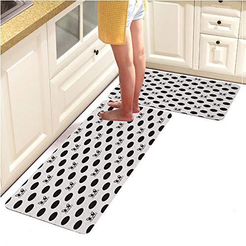 Long Kitchen Floor Mat Rug Runner Set,WashableDog French Bulldog Seamless Pattern Vector Isolated Bone Puppy Polka dot Wallpaper Background (18