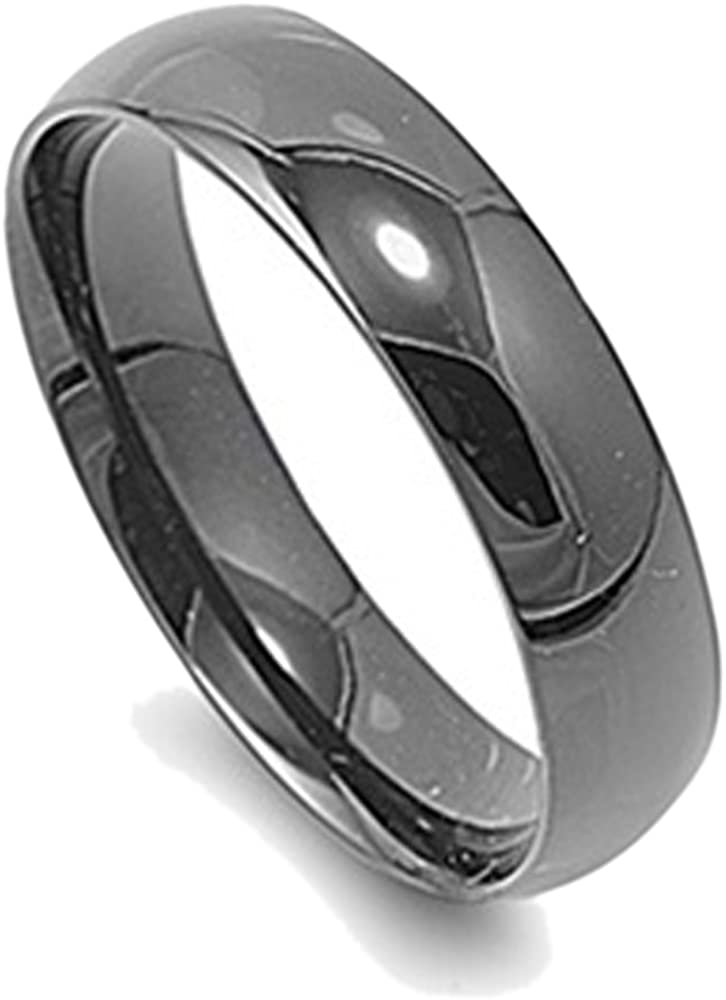6MM Stainless Steel Black Anodized Classic Domed Wedding Band Size 5 to 15