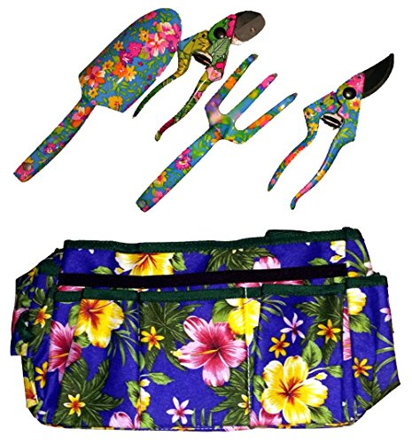 MOTHER'S DAY GIFT - HIGH QUALITY 5 PIECE FLORAL GARDEN HAND TOOLS WITH FLOWER DESIGN BAG, CULTIVATOR, SPADE, 2 PRUNERS - WITH FREE TOOL BELT {jg}