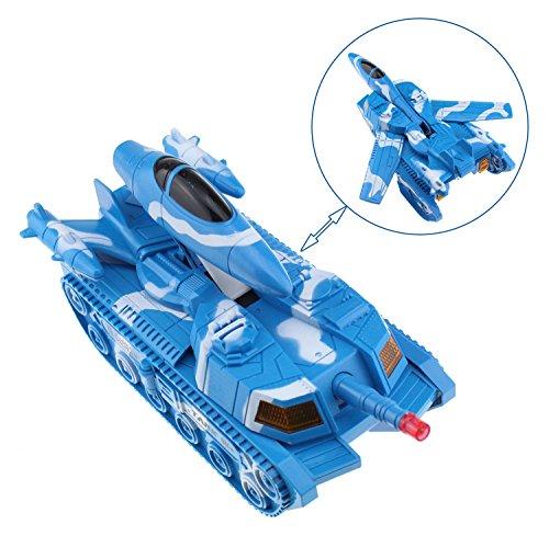 Tipmant 変形タンク、電動戦闘軍用車両モデルおもちゃ子供ギフト (青)