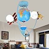 Lilamins Personality Globe Airplane Light Kids Room Light Boys Bedroom Lights Ceiling Light Cartoon Creative Lights, 60 55Cm
