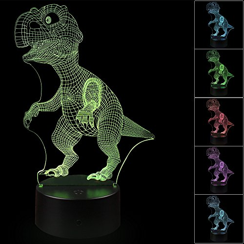 3D Illusion Dinosaur Night Light Lamp with 7 Color change, touch base, power by AA - Version Yellow Flash