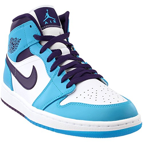 Jordan 554724-415: Retro 1 Mid Mens White/Blue Sneaker (10 D(M) US (White Retro 1)