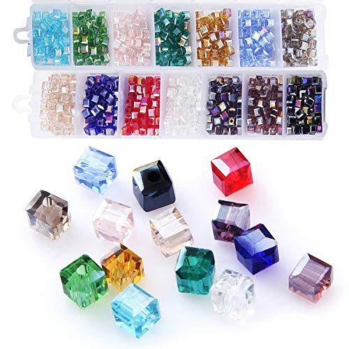 (Cube Crystal Glass Beads, Wholesale Crystals Beading (Similar Cut #5601) Faceted Square Shape 4mm Lot 700pcs 14 Colors with Free Container Box,ZHUBI)