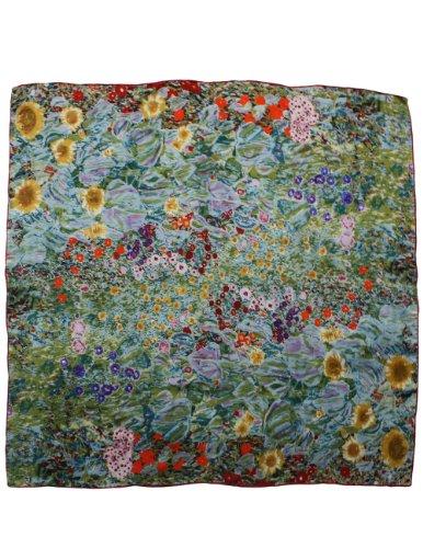 Dahlia Women's 100% Square Silk Scarf Gustav Klimt