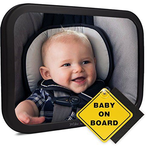 Baby Back Seat Mirror for Car - Best Mirror For View of Rear Facing Infant, Newborn or Child - Large Stable Wide Angle - Safety Crash Tested and Shatterproof - Fully Adjustable Mount For Headrest
