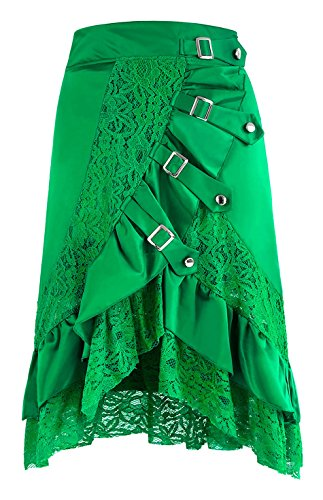 Charmian Women's Steampunk Gothic Retro Victorian Asymmetry Lace Cyberpunk High Low Party Skirt with Buckles Green XX-Large ()