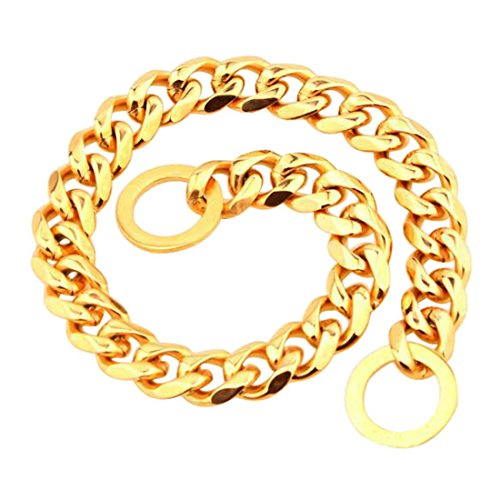 - FOXI YOUTH 17MM Wide Heavy Stainless Steel Slide Curb Chain Dog Collar:Gold 12