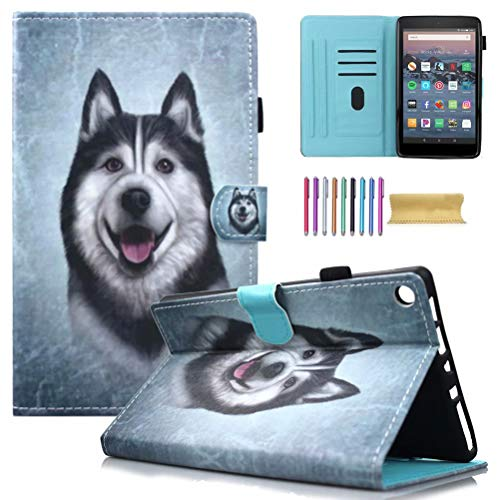 Fire HD 8 Case, AMotie Folio Leather Wallet Cover w/Credit Card Slots & Auto Sleep Wake for All New Fire HD 8.0 inch Tablet (5th 6th 7th 8th Generation, 2015 & 2016 2017 2018 Release), Husky