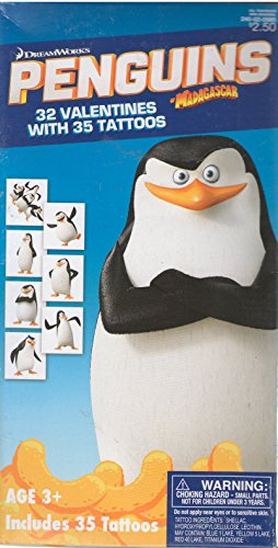 Dreamworks Penguins of Madagascar Valentine Cards 32 Cards with 35 Tattoos