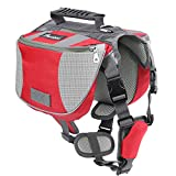 Pawaboo Dog Backpack, Pet Adjustable Saddle Bag Harness Carrier, for Traveling Hiking Camping, Suitable for 39 lb - 60 lb Pet, Red & Gray