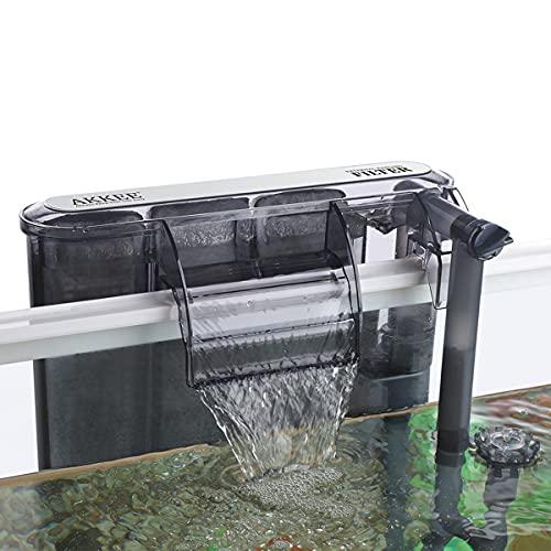 AKKEE Filtro Acquario, Sospensione a Cascata, Filtro Acquario a Parete, Pompa di Ossigeno 260 L/H, Filtro Esterno per Acquario, Adatto per Acquario da 20L ~ 50L (4,2W)