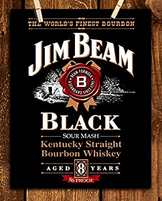 """Jim Beam""""Black"""" Bourbon Label-Wall Art Sign-8 x 10""""-Genuine Replica Print-Ready to Frame. Home-Office Décor. Must Have For Kentucky Bourbon Whiskey Fans. Great Addition To Man Cave-Dorm-Bar-Garage."""