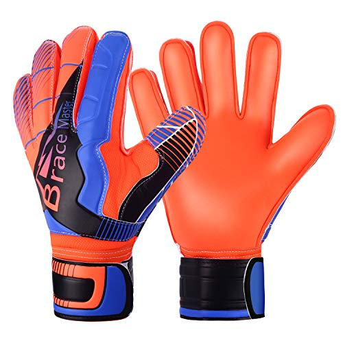 Brace Master Youth & Adult Goalie Goalkeeper Gloves,Strong Grip for The Toughest Saves, with Finger Spines to Give Splendid Protection to Prevent Injuries (Blue-Orange 8) (Finger Spines Goalkeeper Gloves)