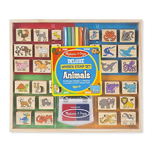 "Animal Doug Set Stamp - Melissa & Doug Deluxe Wooden Stamp Set, Animal Stamps, Colored Washable Ink Pads, Develops Hand-Eye Coordination, 38 Pieces, 12.25"" H x 14.5"" W x 1.5"" L"