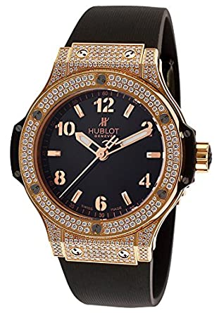Hublot Women's Big Bang Gold Diamond Black Rubber and Dial