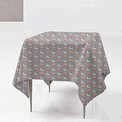 SONGDAYONE Soft Square Tablecloth Animals Cute Cartoon Bunny and Blooming Roses Pattern Fauna and Flora Design Easy to Care Pale Grey Pale Pink White W50 xL50