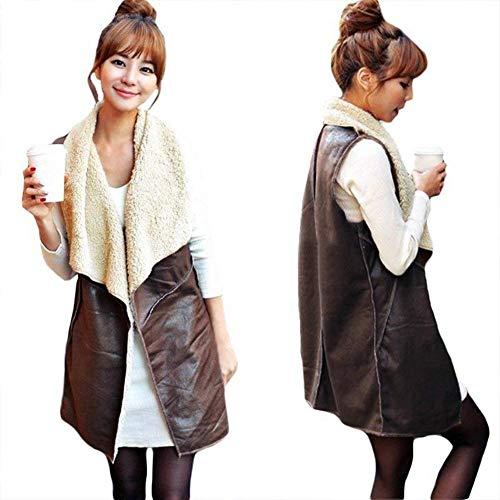 In Lunga Giacca Cappotto Bavero Vintage Similpelle Schwarz Outerwear Chic Gilet Autunno Tempo Sleeveless Pelle Cute Donna Elegante Libero Fashion 6x5waOqxR