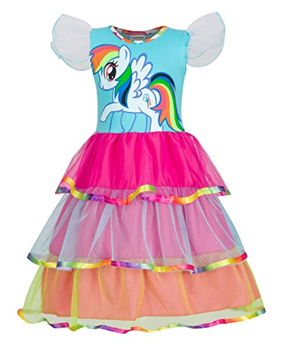 LEMONBABY My Little Pony Sleeveless Princess Birthday Party Dress (4-5Y, (My Little Pony Dresses)