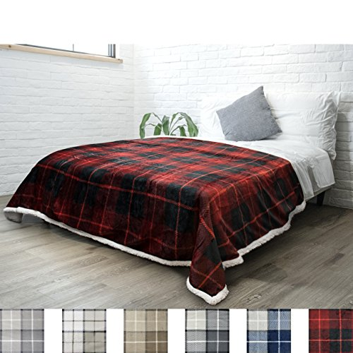 PAVILIA Premium Sherpa Twin Size Blanket | Plaid Design Flannel Fleece Twin Bed Blanket | Plush, Soft, Cozy, Warm, Lightweight Microfiber, Reversible, All Season Use (Red, 60 x 80 Inches)