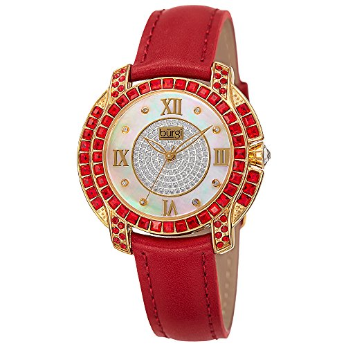 Burgi Women's BUR156RD Yellow Gold Quartz Watch With Diamond Mother of Pearl Swarovski Crystal Accented Dial & Bezel With Red Leather - Burgi Heart Womens