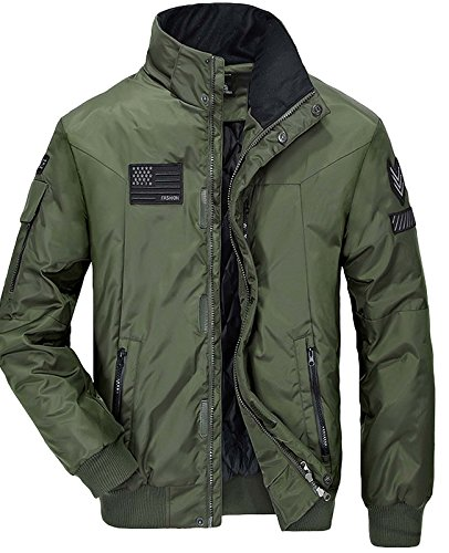 Nidicus Mens Windbreaker High Collar Pilot Flight Jacket With Thermal Lining Army Green XS