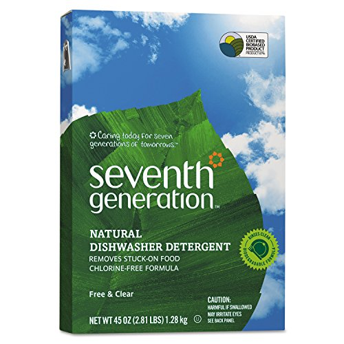 Seventh Generation SEV 22150 Natural Automatic Dishwasher Powder, Free and Clear, 45 oz. Box (Pack of 12) ()