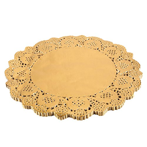 Paper Doily – 60-Pack Round Doilies Paper Lace Placemats for Cakes, Desserts, Baked Treat Display, Ideal for Weddings, Formal Event Decoration, Tableware Décor, Gold - 12 Inches in Diameter
