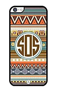 MMZ DIY PHONE CASEiZERCASE Monogram Personalized Aztec Pattern with Turquoise Circle ipod touch 5 Case - Fits ipod touch 5 T-Mobile, AT&T, Sprint, Verizon and International (Black)