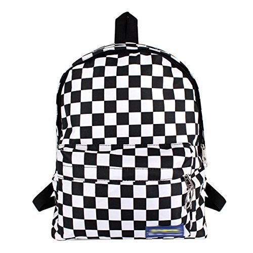 - Editha Women Men Checkerboard Plaid Print Backpack Students Schoolbag Large Daypack Shoulder Bag Travel Rucksuak Black & White