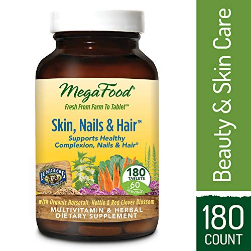 MegaFood - Skin, Nails, & Hair, Multivitamin Support for Hormone Balance to Encourage a Healthy Complexion, Strong Nails, and Beautiful Hair with Biotin, Vegan, Gluten-Free, Non-GMO, 180 Tablets (FFP)