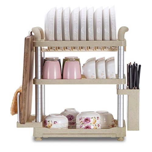 (WFL Kitchen Bathroom Shelf Bowl Shelf 3 Layers Kitchen Shelf Landing Multifunction Plate Rack Dish Racks Kitchen Supplies 49.722.253.5CM Multipurpose Shelf Display Rack)