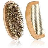 Set of Natural Boar Bristles Beard Mustache Brush and Beard Comb AZ009