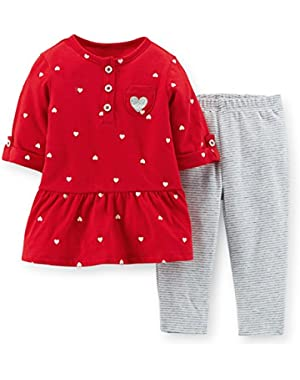 Little Girls' Heart Tunic Stripe Leggings Set (3M, Red)