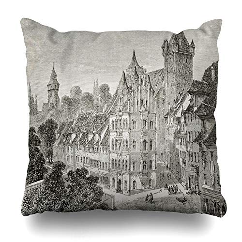 Ahawoso Throw Pillow Cover City Old Antique Panierplatz Nuremberg Germany Etching Created Europe Vintage Painting Aged Ancient Home Decor Pillow Case Square Size 16x16 Inches Zippered Pillowcase