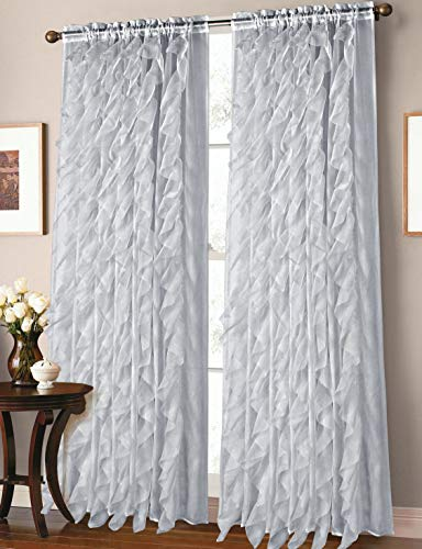 - GorgeousHome Cascade 1pc Rod Pocket Top Panel Fashionable Multilayered Soft Crushed Sheer Fabric Window Curtain Vertical Ruffles Drape 55
