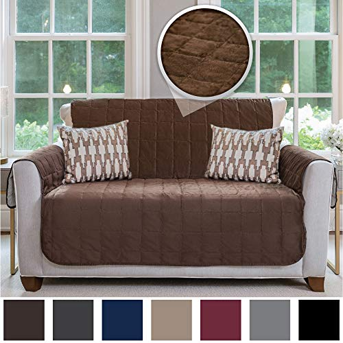 Gorilla Grip Original Velvet Slip Resistant Luxurious Loveseat Slipcover Protector, Seat Width Up to 54 Inch Patent Pending, 2 Inch Straps, Hook, Sofa Furniture Cover for Pets, Love Seat, Chocolate (Seat And Covers Love Sofa)