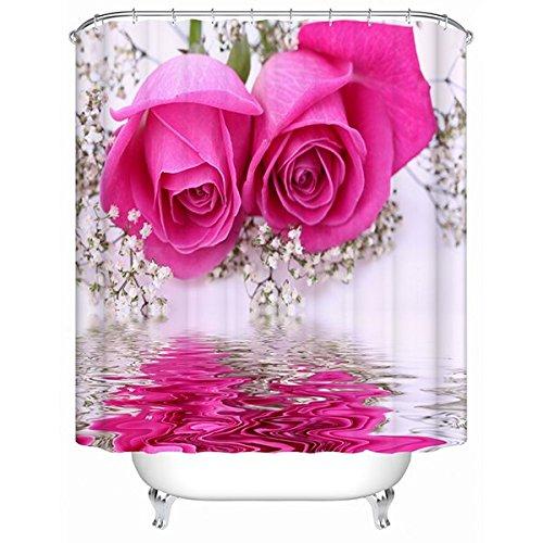 Alicemall 3D Badvorhang Vorh/änge Wasserdicht Anti Schimmel Bad Vorhang Shower Curtain Sch/öne Rosa Rose Blumen Spiegelung im Wasser 3D Effekt mit 12 PCS Haken Duschvorhang 180x200cm Rose