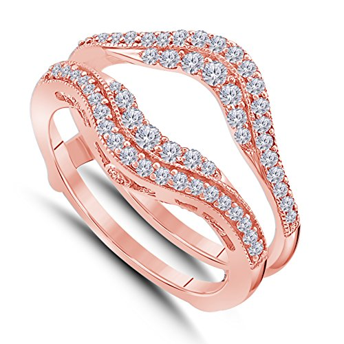 14K Gold Plated Alloy Double Row Pave Set Cubic Zirconia Round Solitaire Enhancer Guard Wrap Ring Size 4 to 11 ()