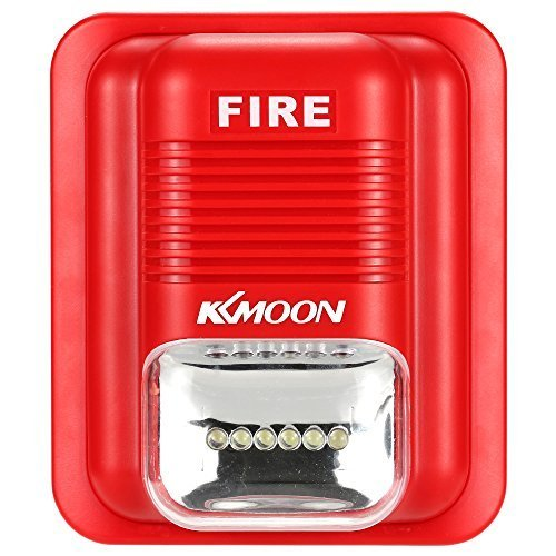 KKmoon First Alert Fire Alarm Siren Sound & Strobe Alert Horn Security Safety System for Home Office Hotel Restaurant