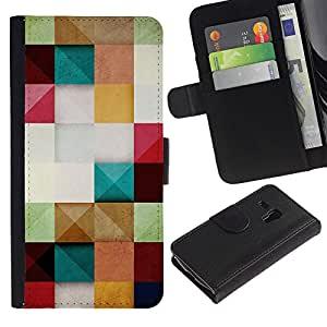 For Samsung Galaxy S3 MINI NOT REGULAR! I8190 I8190N,S-type® Paper Pastel Colors Square - Dibujo PU billetera de cuero Funda Case Caso de la piel de la bolsa protectora