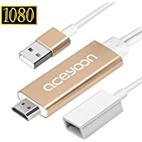 aceyoon Android to HDMI Adapter 2 in 1 1080P Lightning Micro USB Digital AV Connector Plug and Play HDTV Video Screen Mirroring Cord for iPhone 7, 7 Plus, iPad Air, Samsung Galaxy Tab 3 / 4