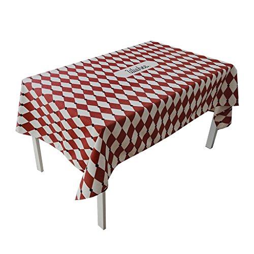 A 140140CM SZQ Nappe de treillis, mélange créatif salon salle à hommeger table nappe rouge impression facile à nettoyer nappe longueur 85-240CM Surface confortable