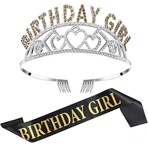 Chengu Birthday Girl Glitter Crown Rhinestone Crystal Decor Headband with Birthday Girl Sash (Gold)]()